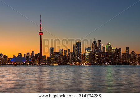 Toronto City Skyline At Summer Night In Toronto, Ontario, Canada.