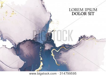 Marble Tender Rose Navy Watercolor Background Vector Set. Abstract Soft Golden Ink Texture. Modern D