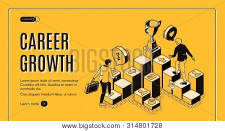 Career Growth Isometric Landing Page, Businessmen Going Upstairs By Column Chart With Trophy Goblet