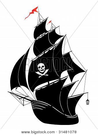A silhouette of a old sail pirate ship - vector illustration. poster