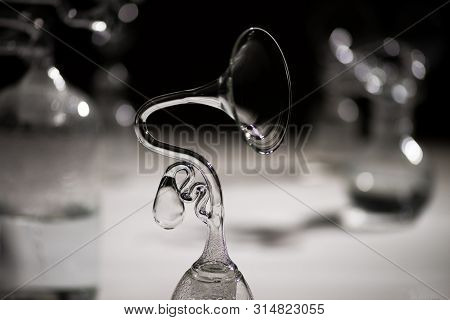 Magnetic Resonance On Whirpool Water In Glass Black And White Photo