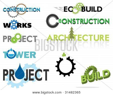 Construction  And Building Themed Text Based Graphics Including Eco Theme