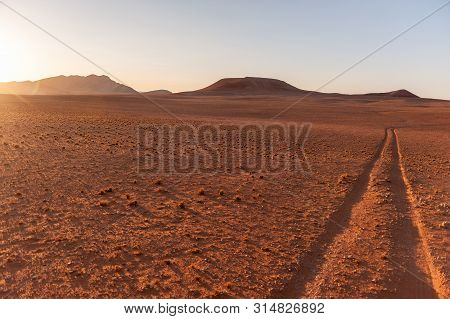 The Tracks Of A Safari Vehicle Accentuated By The Early Morning Light. Khomas Region, Central Namibi