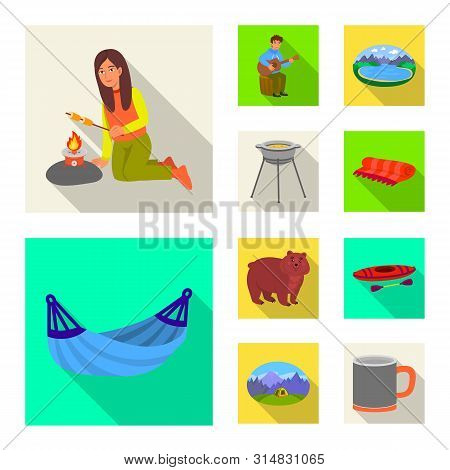 Isolated Object Of Cookout And Wildlife Sign. Collection Of Cookout And Rest Vector Icon For Stock.