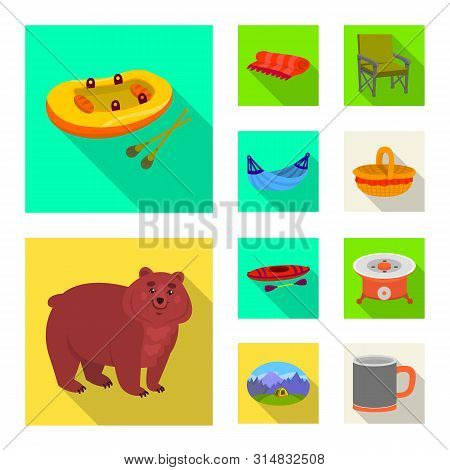 Vector Design Of Cookout And Wildlife Symbol. Collection Of Cookout And Rest Vector Icon For Stock.