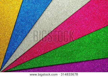 Set of multicolored foamiran sheets with sparkles poster