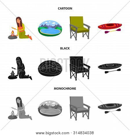Vector Illustration Of Cookout And Wildlife Icon. Collection Of Cookout And Rest Stock Symbol For We