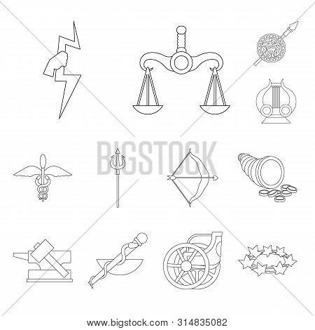 Vector Design Of Mythology And God Sign. Set Of Mythology And Culture Vector Icon For Stock.