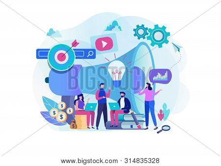Digital Marketing Strategy Team. Content Manager. Flat Cartoon Character Graphic Design. Landing Pag