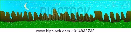 Azure Sky, And Mountains Landscape. Plain Horizontal Background Illustration. Trendy Fairy Tale Plai