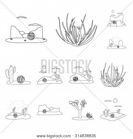 Vector Illustration Of Wilderness And Texas Sign. Set Of Wilderness And Pasture Vector Icon For Stoc