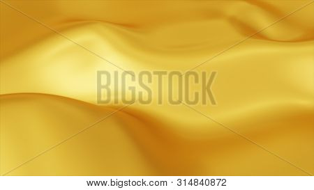 Golden Wave Background. Abstract 3d Illustration Of Gold Liquid Background. Gold Texture. Cloth, Vel