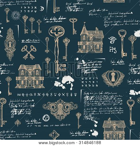 Vector Seamless Pattern With Vintage Hand-drawn Keys, Keyholes And Old Houses In Retro Style. Abstra