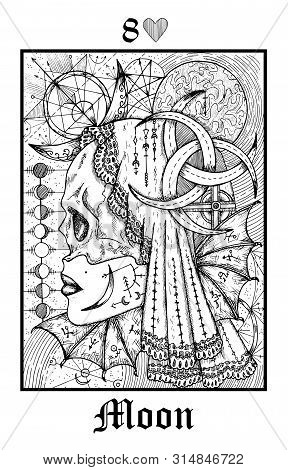 Moon Symbol. Tarot Card From Vector Lenormand Gothic Mysteries Oracle Deck. Black And White Engraved