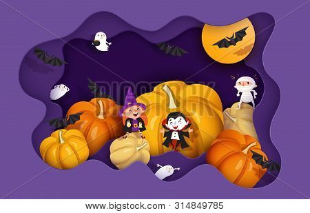 Happy Halloween 3d Papercut Layered Design. Witch, Ghoul, Vampire, Bat, Pumpkin, Mummy, Ghost, Moon.