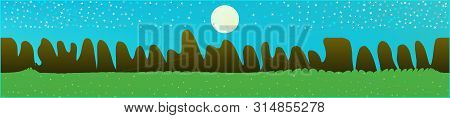 Cyan Sky, And Mountains Landscape. Wide Horizontal Background. Trendy Modern Skinali Design. Clean G