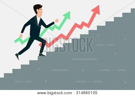 Businessman Running Up Stairway To The Target, Career Growth Vector Illustration Isolated On White B
