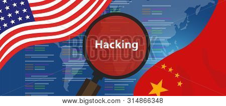 Usa China Hacking Cyber Espionage. Chinese Hacker Investigation Of Surveillance Or Security Breach