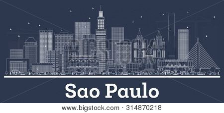 Outline Sao Paulo Brazil City Skyline with White Buildings. Business Travel and Tourism Concept with Historic Architecture. Sao Paulo Cityscape with Landmarks.
