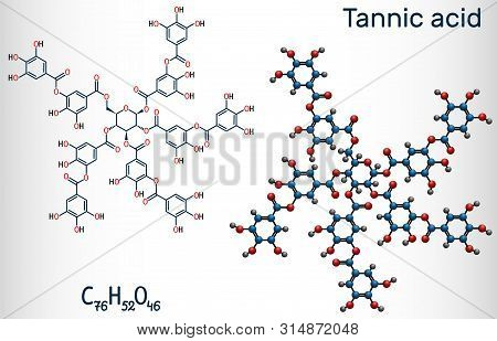 Tannic Acid, Tannin Molecule. It Type Of Polyphenol. Structural Chemical Formula And Molecule Model