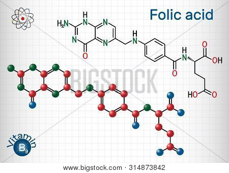 Folic Acid, Folate Molecule. It Is Known As Vitamin B9. Sheet Of Paper In A Cage. Structural Chemica