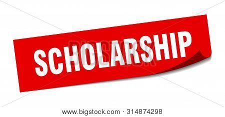 Scholarship Sticker. Scholarship Square Isolated Sign. Scholarship