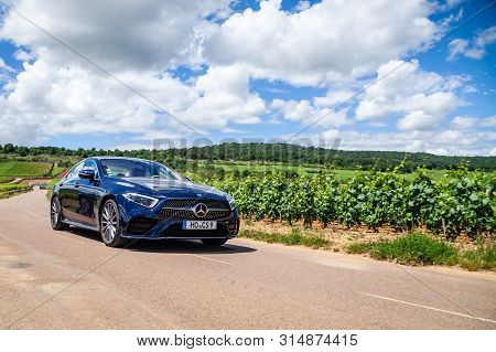 France Lyon 2019-06-20 Closeup Front View Luxury Dark Blue German Car Sedan Premium Mercedes Cla Wit