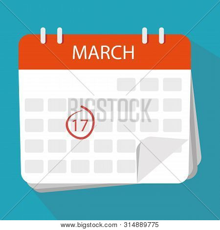 Calendar Icon. The 17Th March. Isolated On White Background. St. Patrick's Day Celebration. Vector
