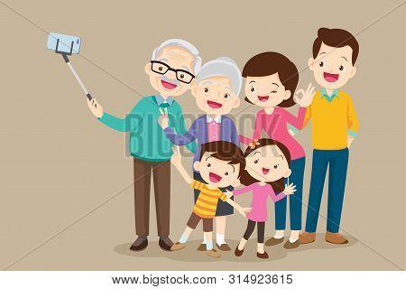 Selfie Family.grandparents Selfie.elderly Couple Making Selfie.making Selfie Photo, Shooting Group P