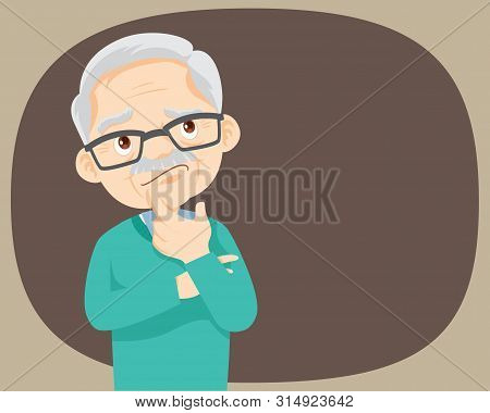 Thinking Oldman Looking Up On Empty Or Blank.man Thinks About Problem.thoughtful People Understand T