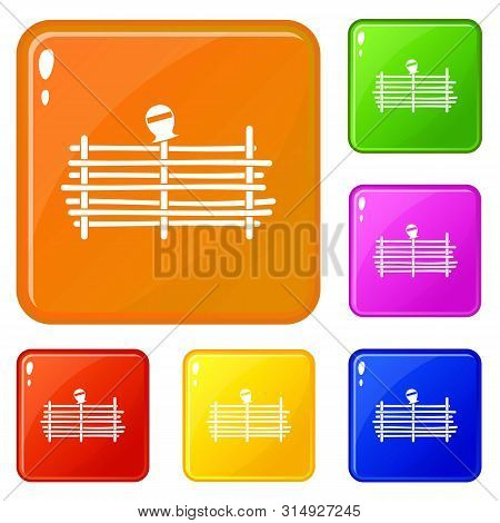 Palisade Icons Set Collection Vector 6 Color Isolated On White Background