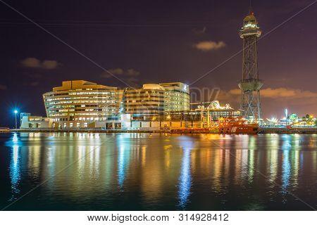 Barcelona, Spain- 10 November 2014: Teleferic Del Port , A Steel Truss Tower, Part Of The Port Vell