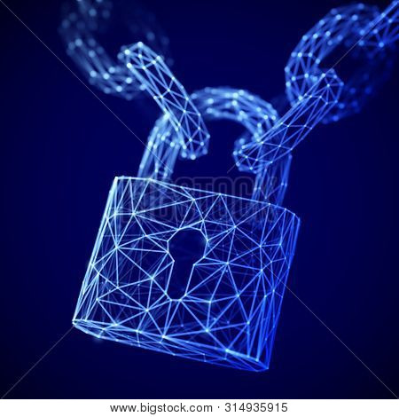 The Concept Of Digital Security And Data Protection: A Polygonal Closed Lock On The Chain. Secure St