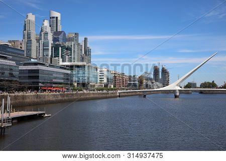 Buenos Aires, Argentina - November 4, 2018: The Womens Bridge (puente De La Mujer)in Puerto Madero N