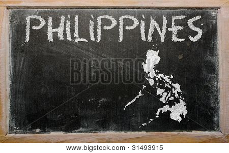 drawing of philippines on blackboard drawn by chalk poster