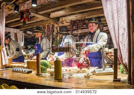 Hamburg, Germany - December 14, 2018: Food Stall With Traditional Meat And Sausages At Christmas Mar