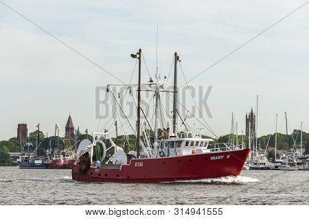 New Bedford, Massachusetts, Usa - August 1, 2019: Trawler Mary K, Hailing Port Woods Hole, Massachus