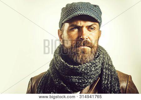 Handsome Man Wearing Demi-season Clothing. Advertise Autumn-winter Fashion. Trendy Look. Casual Bear