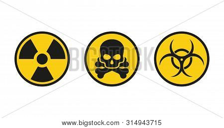 Danger Signs, Radiation Radiation Color Flat Icons