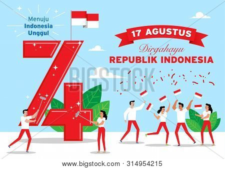 Illustration Of Indonesian People Celebrate Independence Day. Dirgahayu Republik Indonesia Translate