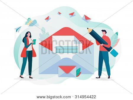 People hold mail. Working process, New email message, mail notification. Social network,chatting,reading letter, New incoming message, sms, spam. Vector illustration background. Flat cartoon character