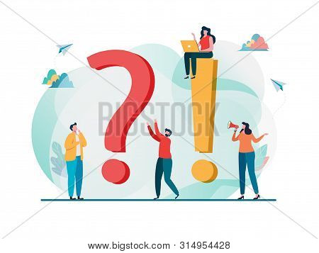 Frequently Asked Questions Concept. Question Answer Metaphor. Vector Illustration Background. Flat C