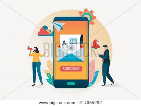 Subscription. Email Subscribe Vector Illustration. People Use E-mail Marketing In Smartphone Backgro