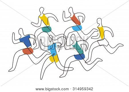Running Racers, Lineart Style. Colorful Lineart Illustration Of Soort Runners.isolated On White Back