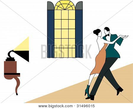 Illustration of a couple dancing, art deco style