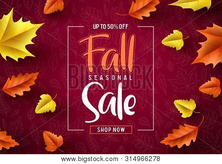 Fall Sale Seasonal Vector Banner. Fall Season Sale Text Typography With Colorful Maple Leaves In Red