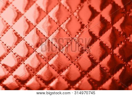 Red Orange Colored Leather Texture. Natural Material Background. Color Of The Year 2018 Concept