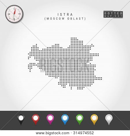 Dots Map Of Istra, Moscow Oblast. Simple Silhouette Of Istra. Vector Compass. Multicolored Map Marke