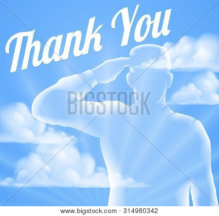 A Soldier Saluting With Cloud Sky Background With Thank You, Design For Memorial Day Or Veterans Day