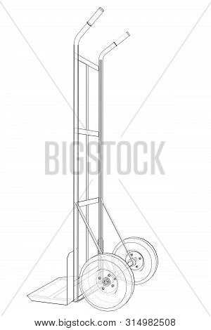 Outline Delivery Trolley Or Hand Truck. Vector Image Rendered From 3d Model In Sketch Style Or Drawi